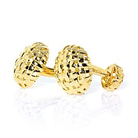Tiffany & Co. Vannerie Basket Weave Yellow Gold Cufflinks