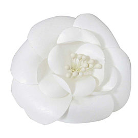 Chanel Camellia Flower Pin Brooch White Textile