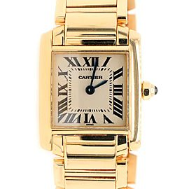 Cartier Tank Francaise 20MM Yellow Gold Roman Dial Ladies Watch Box Papers W50002N2