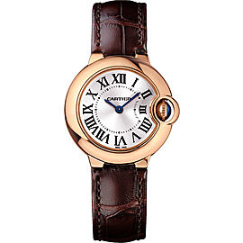 Cartier Ballon Bleu WGBB0007 18K Rose Gold & Leather with Silver Dial 28mm Womens Watch