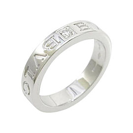 Bulgari 750 White Gold Double Logo Ring