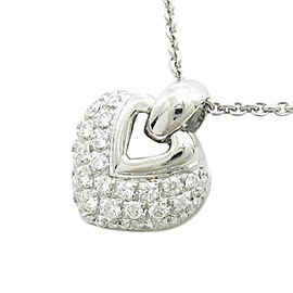 Bulgari 750 White Gold Doppio Cuore Necklace