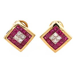 18k Yellow Gold Ruby and Diamond Tile Earrings