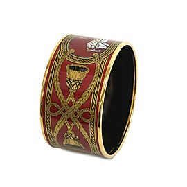 Hermes Enamel Cloisonne And Gold Tone Extra Wide Bangle Bracelet