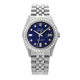 Rolex Datejust 16014 Stainless Steel and 18K White Gold Diamond Bezel Blue Dial 36mm Watch