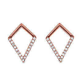Rose Gold Geometric Kite Diamond Earrings - rose-gold
