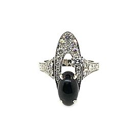 Bvlgari 18K White Gold Elisia Diamond & Onyx Ring