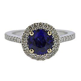 Sapphire Diamond Gold Engagement Ring