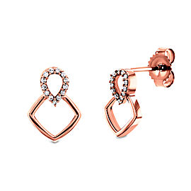 Rose Gold Geometric Diamond Earrings - rose-gold