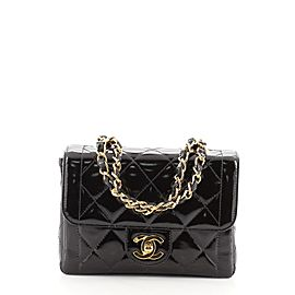 Chanel Vintage Double Chain Handle CC Flap Bag Quilted Patent Mini