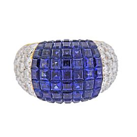 Invisible Set Sapphire Diamond Gold Ring
