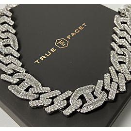 14K White Gold Men's 52.48ct Diamond Link Necklace