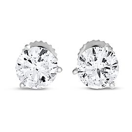 14k White Gold 2.02 Ct. Natural Round Diamond Studs Three Prong Basket Screw Back Earrings