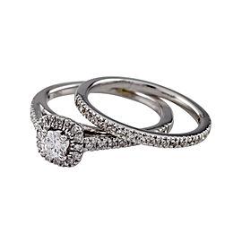14K White Gold 0.20ct Diamond Engagement Ring Set Size 3.75