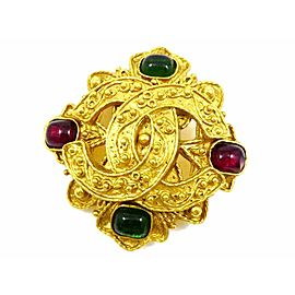 CHANEL Gold-tone Vintage Gripoix Coco Mark Pin Brooch CHAT-45