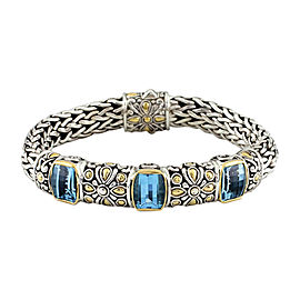 John Hardy 925 Sterling Silver & 18K Yellow Gold with Blue Topaz Bracelet