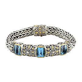 John Hardy 925 Sterling Silver & 18K Yellow Gold with Blue Topaz Bracelet