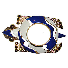 Pierre Cardin White & Blue Enamel Over 18K Gold Plated Turtle Pin