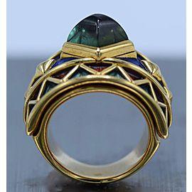 AMR Shaker Gold, Sugarloaf Cabochon Tourmaline and Enamel Ring