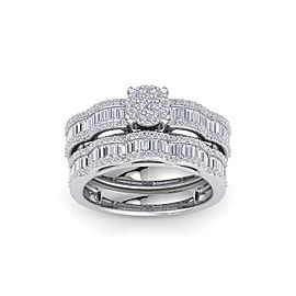 GLAM ® Wave bridal ring set in 14K gold with white diamonds of 1.17 ct in weight