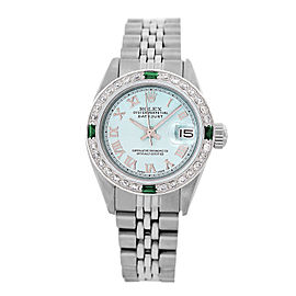 Rolex Lady Datejust 6917 Ice Blue Dial with Diamond Bezel 26mm Womens Watch