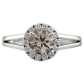 1.28 Carat Morganite 14K White Gold Diamond Ring