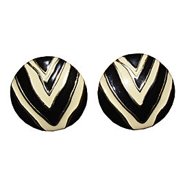 Givenchy 18K Gold Plated Zebra Print Enamel Disc Earrings