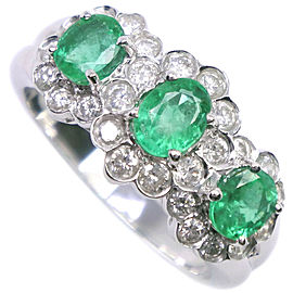 18k white gold/Emerald/diamond Ring