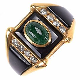 onyx 18k yellow Gold/Emerald/diamond Ring