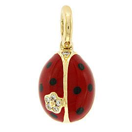 Aaron Basha 18K Yellow Gold Diamonds Enamel Ladybug Pendant