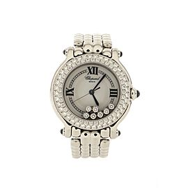 Chopard Happy Sport Classic Round Quartz Watch Stainless Steel with Diamond Bezel and Floating Diamonds 32