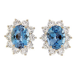 Tiffany & Co. 950 Platinum Aquamarines & Diamonds Stud Earrings