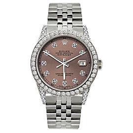 Rolex Datejust Stainless Steel & 5ct Diamond 36mm Watch