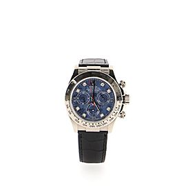 Rolex Oyster Perpetual Cosmograph Daytona Automatic Watch Watch White Gold and Alligator with Sodalite Dial and Diamond Markers 40