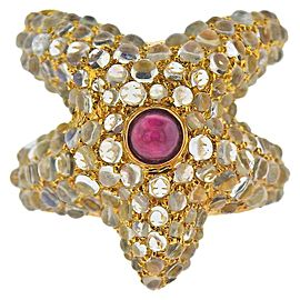 Ruby Moonstone Gold Starfish Ring
