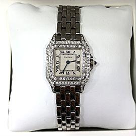 CARTIER PANTHERE 22mm Quartz Steel 0.87TCW DIAMOND Bezel & Case Watch