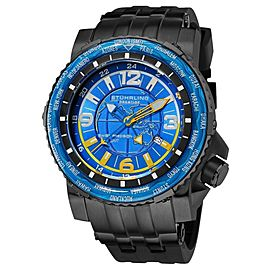 Stuhrling Prestige Marine World Timer 319177-50 Stainless Steel & Rubber 50mm Watch