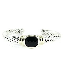David Yurman Sterling Silver 14K Yellow Gold 7mm Black Onyx Noblesse Bracelet
