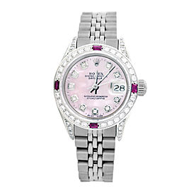 Rolex Lady Datejust 6917 26mm Womens Pink Mother of Pearl diamond Dial and Bezel Vintage Watch