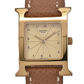 HERMES H Watch HH1.201 Gold Plated/Leather Quartz Women's Watch