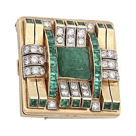 18K Yellow Gold Emerald Diamond Geometric Clip Brooch