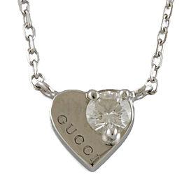 GUCCI 18K white gold diamond Heart Necklace