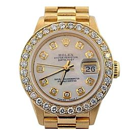 Rolex Datejust Oyster Perpetual Presidential 18K Yellow Gold 2.30 Ct Diamond Dial and Bezel 26mm Watch