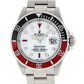 Rolex Submariner 16610 Stainless Steel with White Mother Of Peatl with Diamond and Ruby 40mm Mens Watch