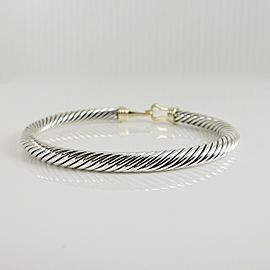 Description: David Yurman Sterling Silver 14K Yellow Gold 5mm Buckle Bracelet