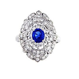 Platinum with 0.90ct. Sapphire and 1.85ct. Diamond Cocktail Engagement Ring Size 6.75