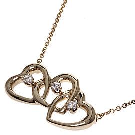 Tiffany & Co. 18K Yellow Gold Triple Heart Diamond Necklace
