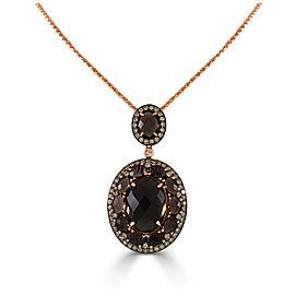 14K Rose Gold Smoky Quartz & Brown Diamond Necklace