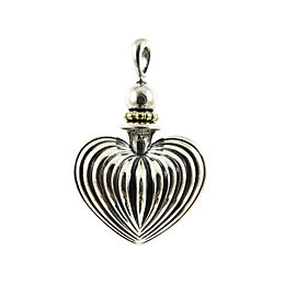 Lagos Sterling Silver 18K Yellow Gold Signature Caviar Fluted Heart Perfume Bottle - No Chain