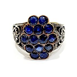 Yellow Gold/Silver with 3.50ct Blue Sapphires Ring